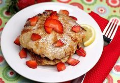 Lemon Cottage Cheese Pancakes with Strawberries on twopeasandtheirpod.com #pancakes