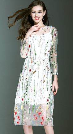 White Embroidered Two Pieces Dress