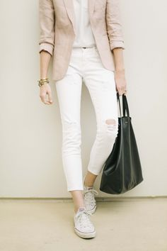 white jeans, converse, delicate gold, blush blazer | Could I Have That