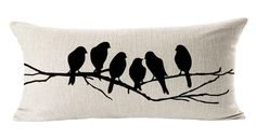 "EachWell Birds Batterflies Sofa Cotton Linen Throw Pillowcase Decorative Cushion Cover Pillow Cover Lumbar Pillow Case 12"" * 20"" Birds"