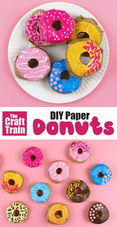 Make the yummiest-looking paper donuts for pretend play shops or tea parties. These donuts are a fun paper craft for kids and look good enough to eat! Ice them with DIY mod podge and paper sprinkles Paper Crafts For Kids, Diy Paper, Easy Crafts, Kids Food Crafts, Diy Karton, Summer Crafts, Toddler Crafts, Paper Goods, Toddler Activities
