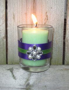 Purple and Emerald Green Wedding / Wedding by CarolesWeddingWhimsy,  set of 6, Purple and Emerald Green Wedding Votive Candle Holders with Pearl and Rhinestone Charm - You can find it here https://www.etsy.com/listing/204538476/purple-and-emerald-green-wedding-wedding