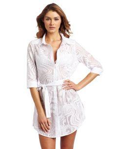 Calvin Klein Women's Burnout Coverup Shirt, White, « ShirtAdd.com – Perfect Fit Shirts