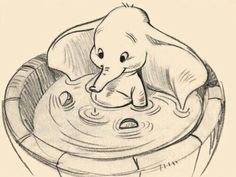 "Walt Disney Sketch of Dumbo from ""Dumbo"" Gif Disney, Disney And Dreamworks, Disney Love, Disney Magic, Disney Art, Disney Pixar, Dumbo Disney, Disney Cartoons, Disney Sketches"