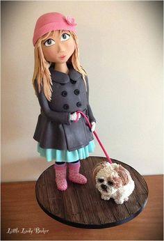 Little Lady Baker - Cute girl topper walker her little dog