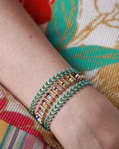 Chic bohemian Cuff Bracelet, chain fancy beads and string enamelled epi, turqoise, mustard, black, Made in Paris