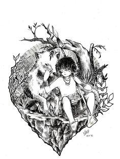 #inktober #latepost #boy #wolf #traditionalart