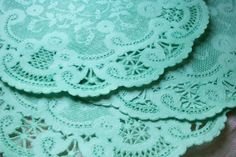 """10"""" Fancy French Lace SOFT MINT GREEN Paper Doilies - Quantity of 10"""