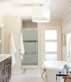 Get inspired by Traditional Bathroom Design photo by Tobi Fairley Interior Design. Wayfair lets you find the designer products in the photo and get ideas from thousands of other Traditional Bathroom Design photos. Sherwin Williams Paint Colors, Home, Frosted Glass Door, Glass Shower Doors, Best Interior Paint, Bathroom Paint Colors, Painting Bathroom, Beige Paint Colors, Bathroom Design