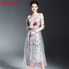 Gray Mesh Cute Dress 2017 Spring Summer High Quality Fashion Elegant Half Sleeve Floral Embroidery Women Cultivate New Mid Dress
