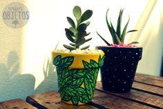 Macetas pintadas a mano con Cactus y Suculentas -
