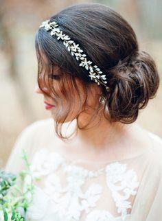Low bridal bun with a crystal headband: http://www.stylemepretty.com/wisconsin-weddings/2015/02/20/vintage-romance-wedding-inspiration/ | Photography: Amanda Nippoldt - http://www.amandanippoldt.com/