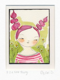 ORIGINAL ACEO, of a woman with flowers in her hair,  Artist trading cards, ATC whimsical watercolor by cori dantini. $50.00, via Etsy.