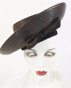 Sally Victor Headline Vtg Metallic Chocolate Brown Straw Velvet Picture  Tilt Hat 870f4f69916a