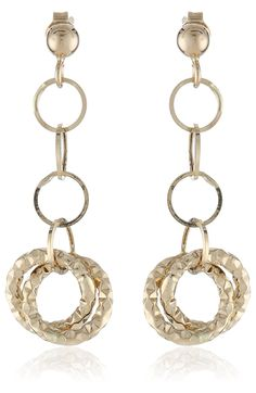 14k Yellow Gold Italian Polished and Textured Double Circle Dangle Earrings -- Continue to the product at the image link.