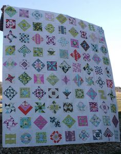 Look at way she has sashed FWS quilt blocks - some on point, some not