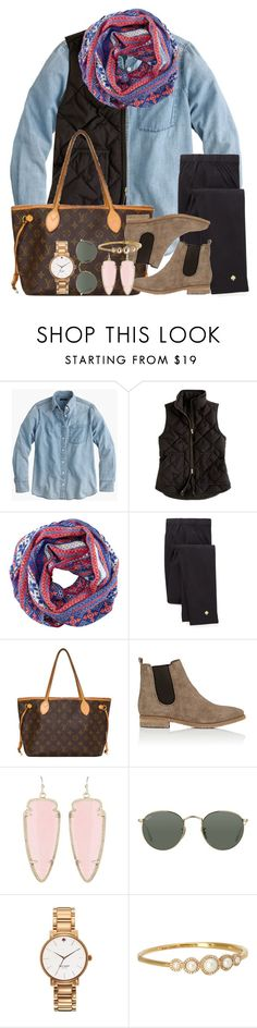 """""""i got SO much homework over break!!"""" by thefashionbyem ❤ liked on Polyvore featuring J.Crew, H&M, Kate Spade, Louis Vuitton, Barneys New York, Kendra Scott and Ray-Ban"""