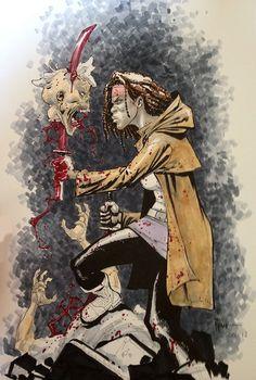 The Walking Dead Michonne SDCC 2012 Ryan Ottley, in ScoopFlow ☕️'s Commissions Comic Art Gallery Room Michonne Walking Dead, The Walking Dead 3, Comic Book Covers, Comic Books Art, Comic Art, Fantasy Anime, Dark Fantasy, Fantasy Art, Zombie Vampire