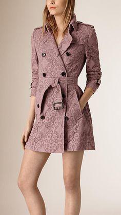 BURBERRY, Pale mauve Gabardine Lace Trench Coat