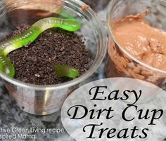 Simple Worm and Dirt Cup Treat perfect for Earth Day! From Creative Green Living at B-InspiredMama.com.