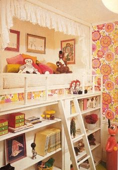 Retro kids bedroom with elevated bed over bookcases.  Pink, white, orange, and yellow color scheme