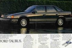 December Ford Motor Company introduces the Ford Taurus and its sister model the Mercury Sable. Ford Taurus, Mercury Sable, Ford Lincoln Mercury, Car Advertising, Car Ford, Ford Motor Company, Old Cars, Vintage Cars, 1980s