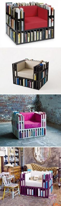 Bookshelf Chair... I HAVE TO HAVE THIS. Even if I have to make it myself!!