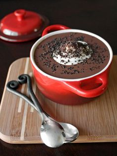 Chocolate soup is a fun and unexpected way to end Valentine's Day dinner. Silky and indulgent, this recipe generously serves two. Use bittersweet chocolate chips or your favorite brand of chocolate bar.