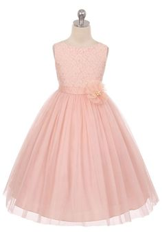 Blush Lace Bodice Tulle Skirt with Pearls Flower Girl Dress (Available in Sizes 2-12 in 3 Colors)