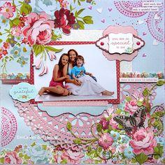 Emilia van den Heuvel: So Special To Me {Kaisercraft & Merly Impressions} Scrapbook Designs, Scrapbook Sketches, Scrapbook Albums, Scrapbooking Layouts, Paper Art, Projects, Crafts, Garden, Van