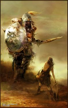 Pick your very favorite theme! Christian Artwork, Christian Images, David And Goliath, Bible Illustrations, Bible Pictures, King David, Jesus Art, Prophetic Art, Biblical Art