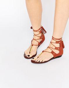 Image 1 ofALDO Jakki Rust Gladiator Tassel Flat Sandals
