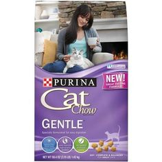 Purina Cat Chow Dry Cat Food, Gentle Formula, (1 bag 3.15Lb)