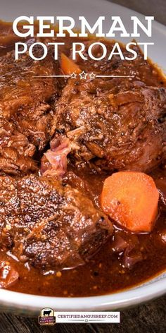A classic meal of oven braised chuck roast and red cabbage German Pot Roast is rich and hearty with onions carrots German mustard and dark beer. Best Beef Recipes, Pot Roast Recipes, Beef Recipes For Dinner, Meat Recipes, Crockpot Recipes, Cooking Recipes, Favorite Recipes, Healthy Recipes, Game Recipes