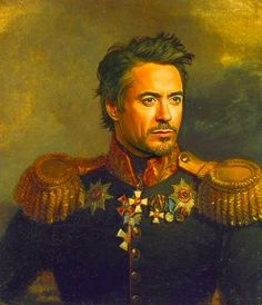 """Robert Downey Jr. / Artist Steve Payne has created a unique collection of digital paintings of male actors and singers for his """"replaceface"""" collection. (via BuzzFeed)"""