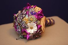 Bridal Brooch BouquetPurple & Gold by BridalBroochBouquets on Etsy, $700.00