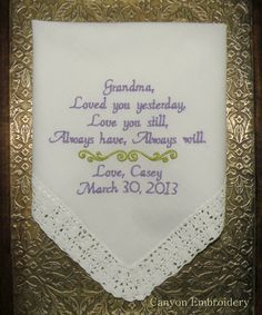Wedding Gift Ideas Embroidered : Grandma Wedding Gift Embroidered Wedding by CanyonEmbroidery, USD27.50