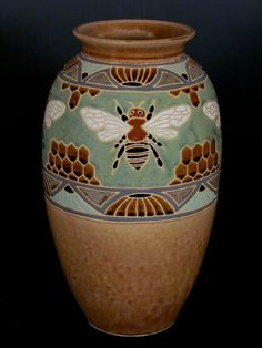 Common Ground Pottery Bee & Honeycomb Vase