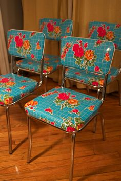 oilcloth-covered kitchen chairs.