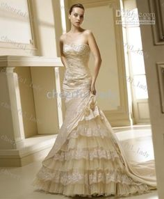 Taffeta Mermaid Wedding Dress Lace-up