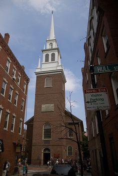 """Old North Church - Boston  """"One if by land, two if by sea"""". Built in 1723, still has an active congregation."""