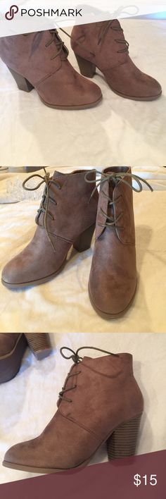 Tan suede ankle booties. Tan suede ankle high booties. Size 9. Never worn. Liliana Shoes Ankle Boots & Booties