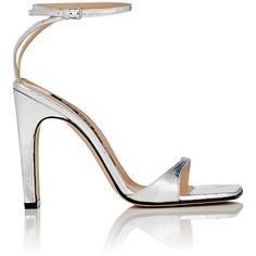 Sergio Rossi Women's Laminated Leather Ankle-Strap Sandals ($730) ❤ liked on Polyvore featuring shoes, sandals, silver, thick heel sandals, high heeled footwear, silver sandals, silver metallic shoes and cut out sandals