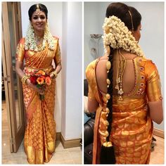 Hair Bun For Saree South Indian Bride South Indian Wedding Hairstyles, Bridal Hairstyle Indian Wedding, Indian Wedding Bride, South Indian Weddings, Indian Bridal Makeup, Tamil Wedding, Indian Hairstyles, Saree Wedding, Wedding Saree Blouse Designs