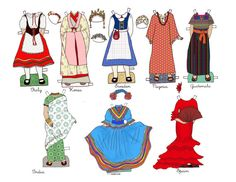 Around the World Outfits - Paper Doll Outfits - Instant Download - PDF