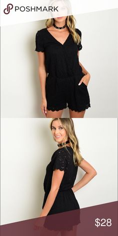 Black Lace Romper Short sleeve lace smock waist romper.  Fabric Content: 60% NYLON 37% COTTON 3% SPANDEX  ❌Trades 😀 Bundles Encouraged Pants Jumpsuits & Rompers