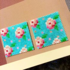 Floral coasters perler beads by *maco* Pearler Bead Patterns, Perler Patterns, Pearler Beads, Loom Patterns, Beading Patterns, Loom Beading, Bracelet Patterns, Hama Beads Coasters, Hama Beads Design