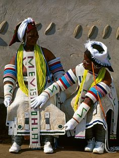 "Africa | Pedi Queens; the Pedi people, neighbours and relatives of the Ndebele, are renowned for their beadwork and have inspired the designs of the Ndebele women.  South Africa, 1994. | ©Carol Beckwith & Angela Fisher. Publication ""African Ceremonies"""