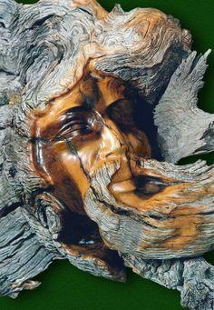 Holzgeist ~ Green Man Source by Driftwood Sculpture, Tree Sculpture, Driftwood Art, Tree Carving, Wood Carving Art, Wood Carvings, Tree Faces, Got Wood, Wood Stone