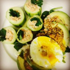 Stuffed Cucumbers with minty filling - This recipe is mostly about the filling which can also be used as a dip if grind all of the ingredients for the filing.